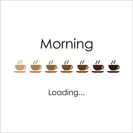 Morning with coffee, vector art for banner, poster, crad. Loading coffee lettering Vectores