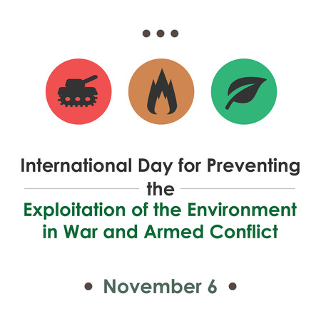 victim war: International Day for Preventing the Exploitation of the Environment in War and Armed Conflict, November 6. Vector illustration for card, poster or banner