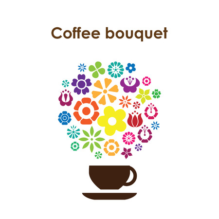 Coffee cup design vector icon for coffee shop or cafe for flavored coffees with colorful flowers and coffee bouquet lettering