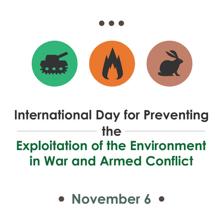 International Day for Preventing the Exploitation of the Environment in War and Armed Conflict, November 6. Vector illustration for card, poster or banner