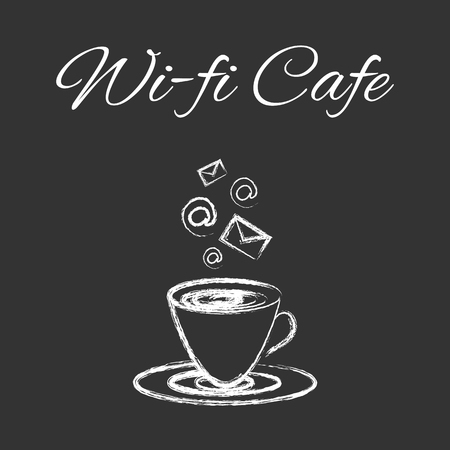 Coffee cup sketched design for coffee shop or wi-fi internet cafe, vector design  on blackboard for menu Imagens - 87062395