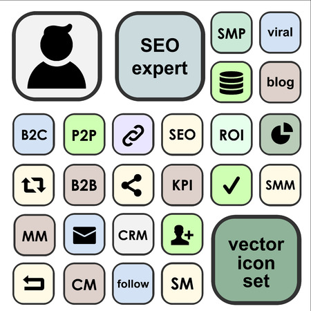 Vector icons set for SEO terms, abbreviations, definitions. SEO expert profile