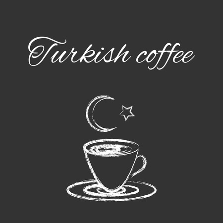 Coffee cup sketched design for coffee shop or cafe, white vector design on blackboard with turkish flag symbols