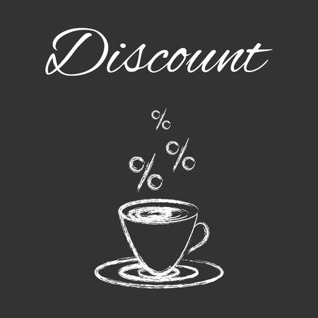 Coffee cup sketched design for coffee shop or cafe, white vector design on blackboard with discount symbols Ilustração