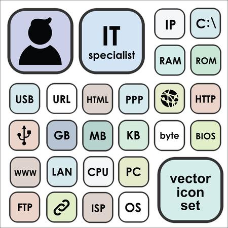 벡터 아이콘 정보 기술 용어, 약어, definitionsm, 두문자어, 전문 용어에 대 한 설정. IT 전문가 전문가 프로필 일러스트