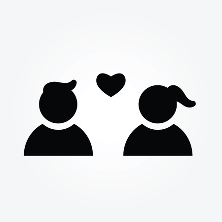 Vector design for young couple, card or poster with profile pictures pictograms man and woman
