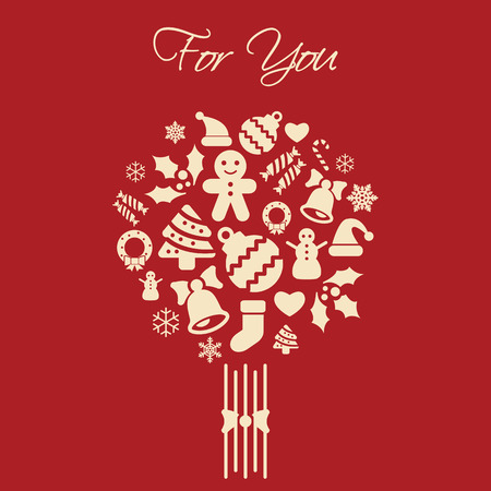Universal new year greeting card with For You lettering and new year symbols in bouquet compostion  traditional red and white colors  snowflakes, socks, sweets, gifts, christmas tree, gingerbread, snowman, hat