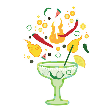 combination: Vector illustration of hot spicy cocktail with jalapeno pepper lime and cucumber for boozy drinks designs Illustration