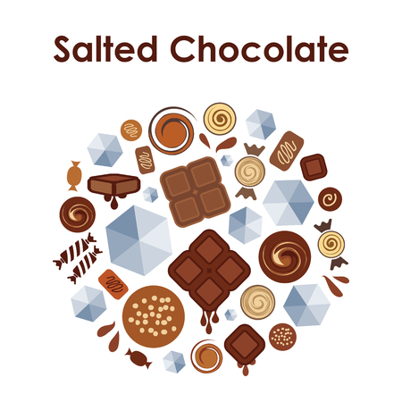 Vector illustration of mixed salted chocolate taste flavor in round shape design Illustration