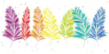 Vector Illustration von bunten Regenbogenfedern in der Linie Design für horizontale Designs der dekorativen festlichen böhmischen Art Standard-Bild - 87109368