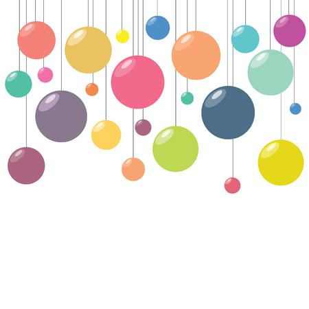 パーティーやお祝いのご挨拶と招待状カード用ハンギングデコレーション カラフルなボールのベクトル イラスト