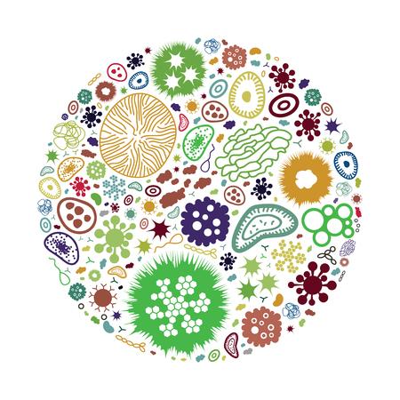 illustration vectorielle de bactéries et d'agents pathogènes dans la conception de forme de cercle pour les concepts de protection de la santé