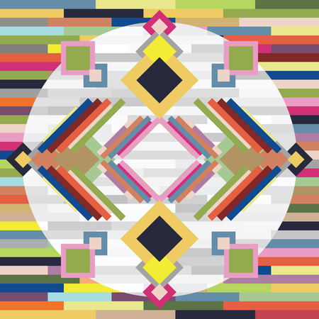 vector illustration of abstract background with colorful rectangles and rhombus for mixed bright symmetrical backgrounds Illustration