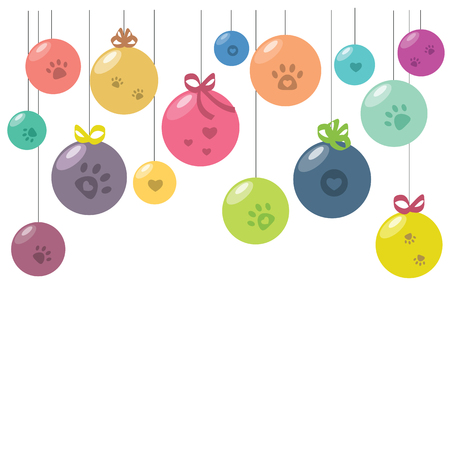 vector illustration of colorful balls hanging decoration with hearts and paws for cute pet veterinary greeting banners designs