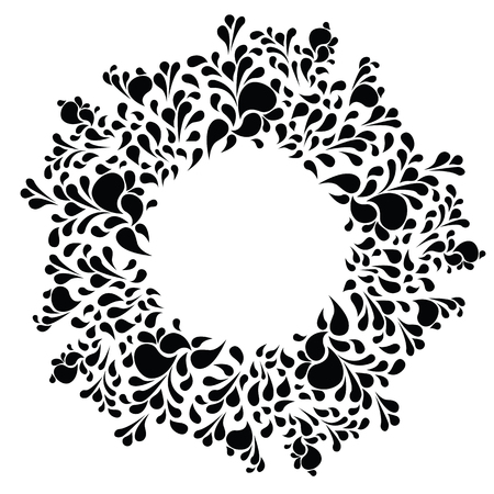 vector illustration of black liquid drops and swirls in circle shape design for decorative festive frames and ethnic style designs