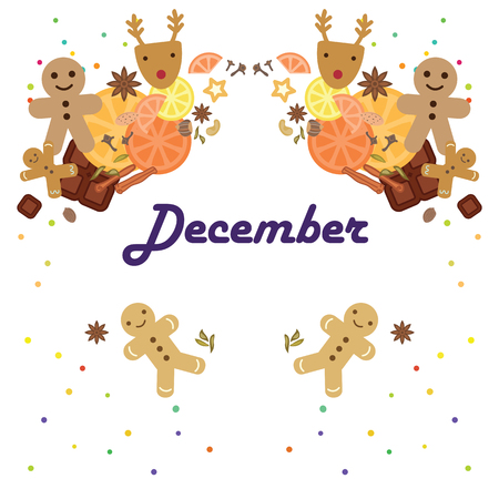 vector illustration for december month calendar page with symmetrical stylish seasonal symbols