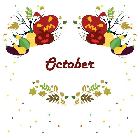 対称のスタイリッシュな季節のシンボル 10 月月間カレンダー ページのベクトル図