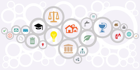 vector illustration of public service icons for managing and city administration concepts in circles network shape design Stok Fotoğraf - 87533765