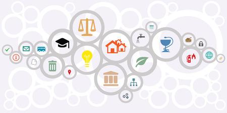 Vektorillustration von Ikonen des öffentlichen Dienstes für das Managen und Stadtverwaltungskonzepte im Kreisnetz gestalten Design
