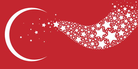vector horizontal illustration of red and white moon and stars for Turkish flag symbols holidays and invitation