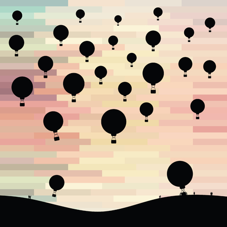 vector illustration for hot air balloons in sunset sky with people silhouettes for touristic attraction and beautiful landscape view backgrounds