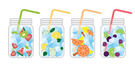 vector illustration for cold drinks in jars with different fruits combination for healthy refreshment style in summer