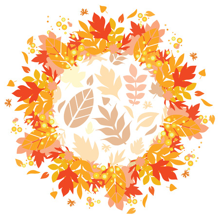 vector illustration of colorful orange autumn leaves for decorative festive frames and bohemian style designs