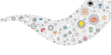 vector illustratie van de openbare dienst iconen voor het beheer en stadsbestuur concepten in cirkels netwerk gebogen golfvorm ontwerp