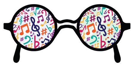 vector illustration of glasses with musical notes for audio media concepts and designs