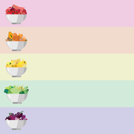 vector illustration for food bowls with different healthy fruits and vegetables in divided by color for diet and nutrition concepts