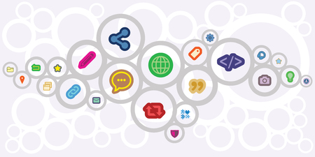 vector illustration of internet media icons and for blogging and digital presence concepts and designs Illustration