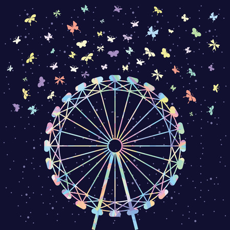 vector illustration of colorful wheel and butterflies on dark night sky background for festival and celebration designs