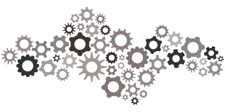vector illustration of cogs and gears in grey monochromatic colors  in wave shape for technology concepts and settings panel