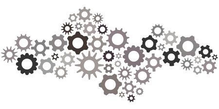 Illustration vectorielle de pignons et d'engrenages dans les couleurs monochromatiques gris en forme d'onde pour les panneaux de concepts et de paramètres de la technologie Banque d'images - 87713411