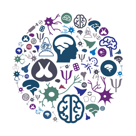 vector illustration of neurology and mental health icons in circle shape design