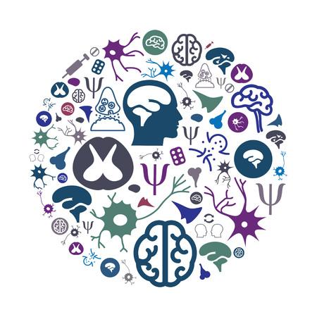 vectorillustratie van neurologie en geestelijke gezondheid pictogrammen in cirkel vorm ontwerp