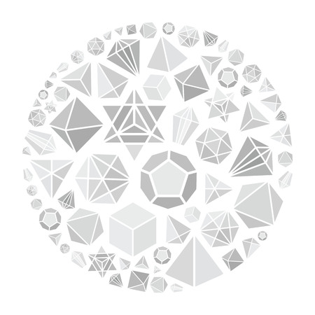 vector illustration of grey minimalist paper style polygon shapes in circle design