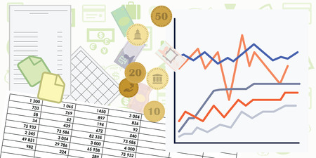 vector illustration for budget and financial monitoring designs with documents graphs and money symbols Illustration