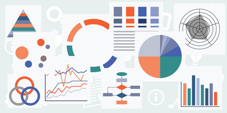 vector illustration of different charts graphs and tables for analytical monitoring designs and banners