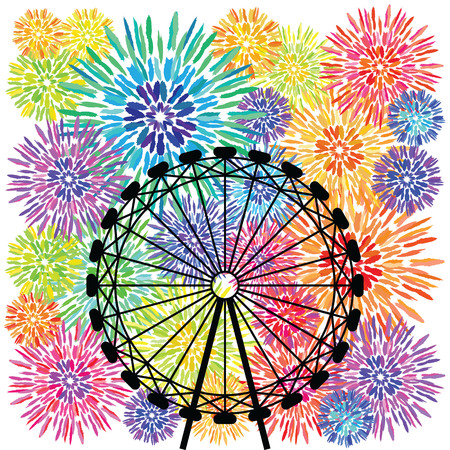 vector illustration of colorful wheel and fireworks for festival and celebration designs Illustration