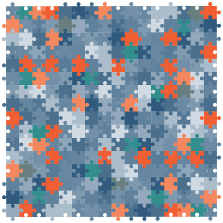 vector illustration of jigsaw puzzles blue and red pieces for bright backgrounds designs