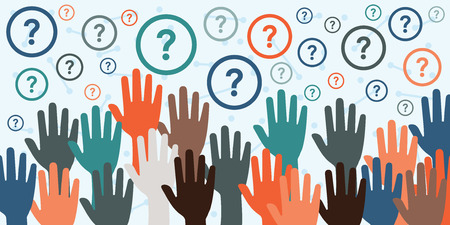 vector illustration with raised hands and question marks for consultancy and question sessions concepts