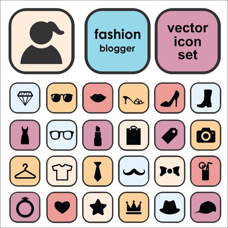 Conjunto de ícones do vetor para o design de blog de moda com símbolos de moda e beleza como sapatos, cosméticos, acessórios. Foto de archivo - 87854301