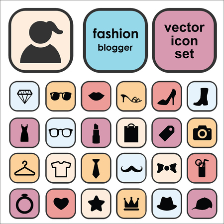 Set of vector icons for fashion blog design with fashion and beauty symbols as shoes, cosmetics, accessories.