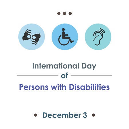 A vector illustration for International Day of Persons with Disabilities with symbolical icons of blind, deaf, and physically disabled people.