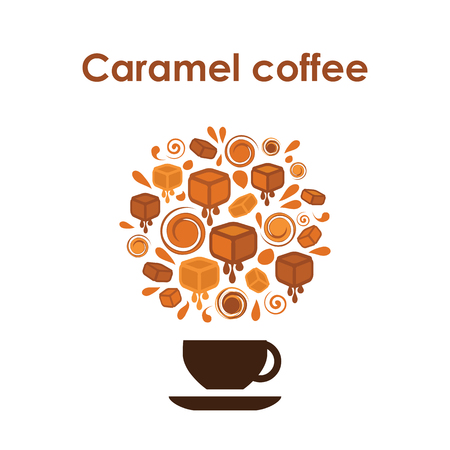 Coffee cup design vector icon for coffee shop or cafe or flavored coffee with caramel.