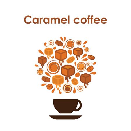 Koffiekopje ontwerp vector pictogram voor coffeeshop of café of gearomatiseerde koffie met karamel.