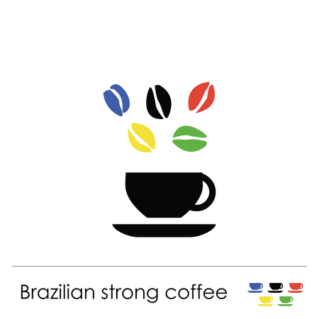 Coffee cup illustration for coffee shop or cafe, with colorful coffee beans and brazilian coffee lettering.