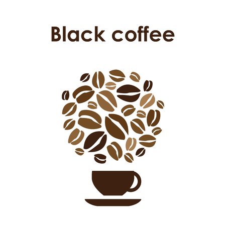 Coffee cup design icon for coffee shop or cafe with black coffee beans and cup.