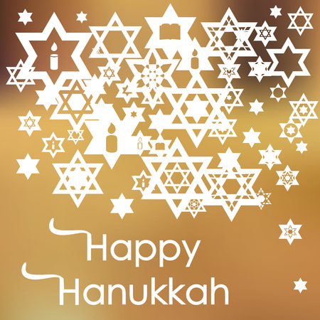 A vector illustration for Jewish Holiday Hanukkah with transparent stars and snowflakes on blurry background.
